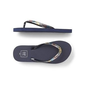 Gap Girls Rainbow Glitter Flip Flops Blue Galaxy